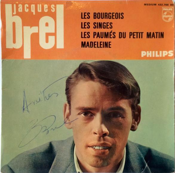 Jacques Brel Vinyl EP - Les Bourgeois, Les Singes, Les Paumes Du Petit Matin, Madeleine