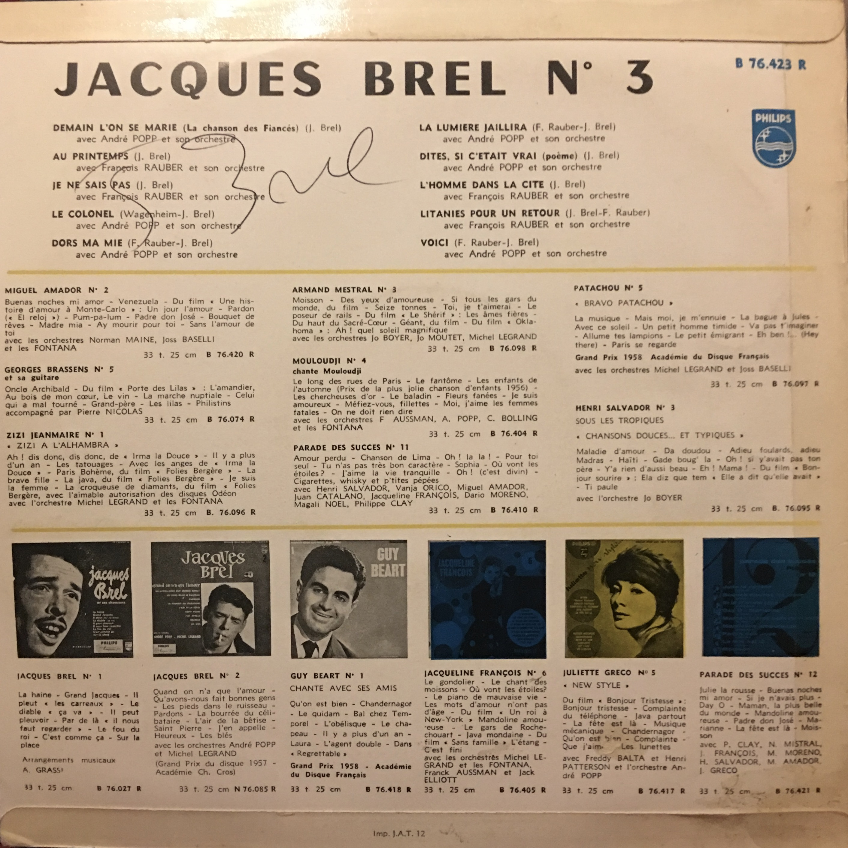 Jacques Brel Vinyl Album - No. 3 - Demain L'On Se Marie - Signed