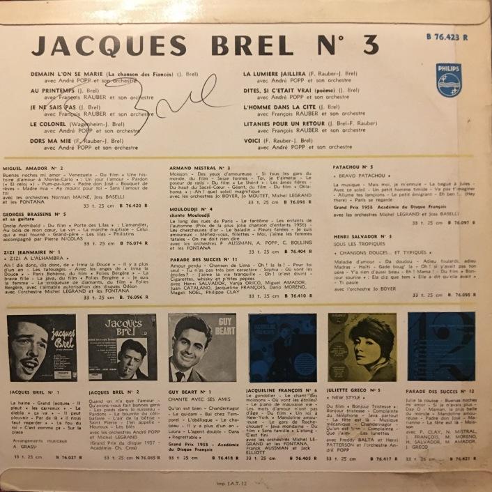 Jacques Brel Vinyl Album - No. 3 - Demain L'On Se Marie - Signed