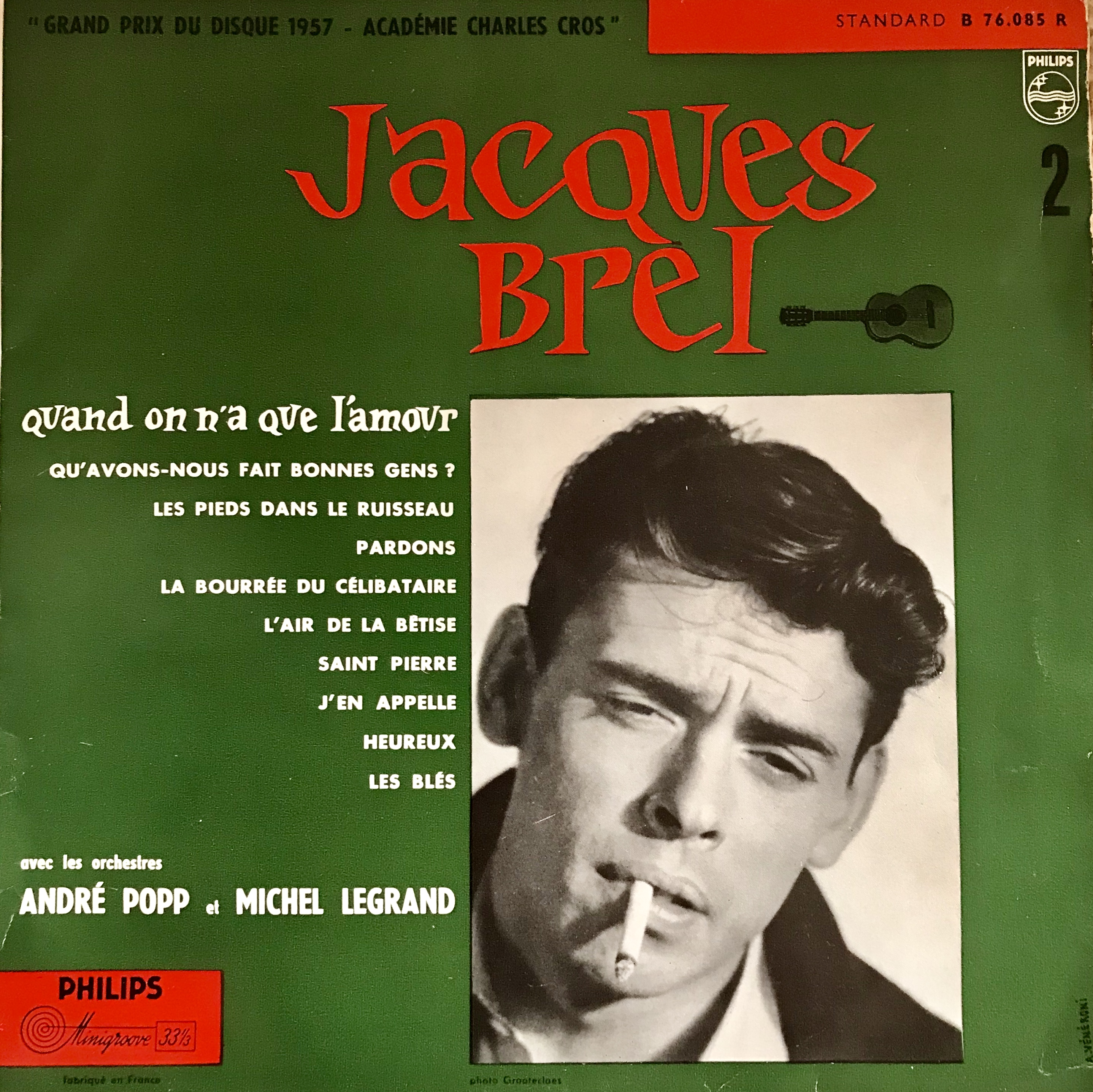 Jacques Brel Vinyl Album Quand On N'A Que L'Amour