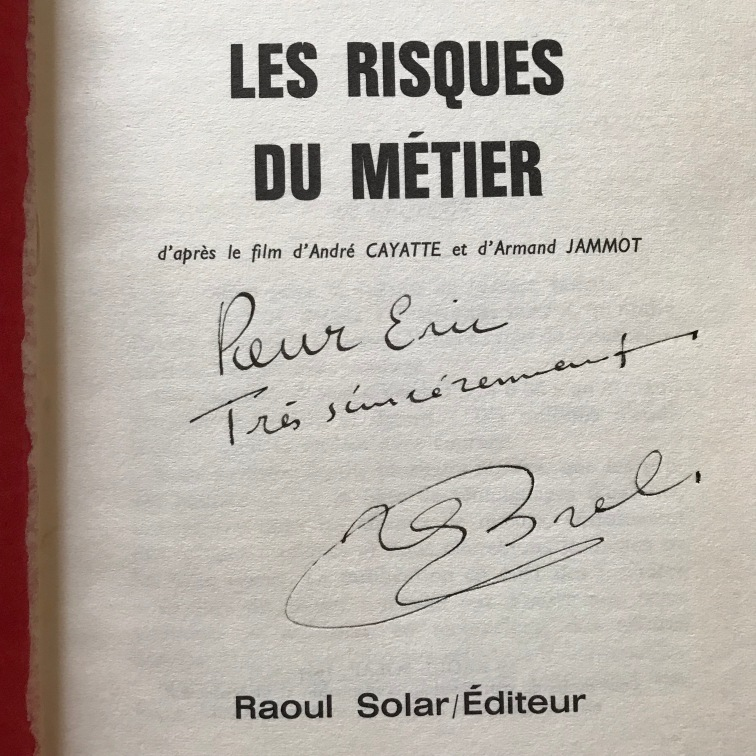 Jacques Brel Autographed Book
